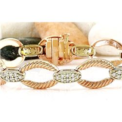 1.00 CTW Natural Diamond 18K Solid Two Tone Gold Bracelet