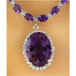 43.05 CTW Amethyst 14K White Diamond Necklace