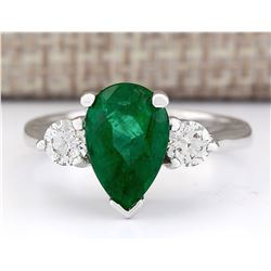 3.03 CTW Natural Emerald And Diamond Ring In 14k White Gold