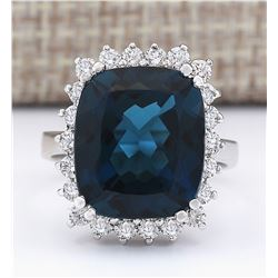 11.07 CTW Natural London Blue Topaz And Diamond Ring In18K Solid White Gold