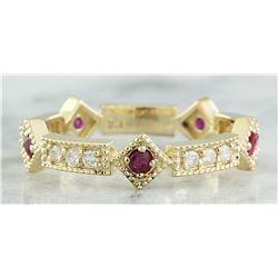 0.43 CTW Ruby 18K Yellow Gold Diamond Ring