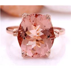 6.25 CTW Natural Morganite 18K Solid Rose Gold Diamond Ring