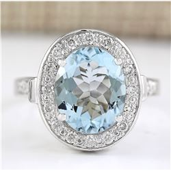 3.95 CTW Natural Aquamarine And Diamond Ring In 14k White Gold