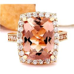 7.12 CTW Natural Morganite 18K Solid Rose Gold Diamond Ring