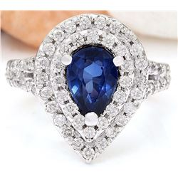 2.95 CTW Natural Sapphire 18K Solid White Gold Diamond Ring