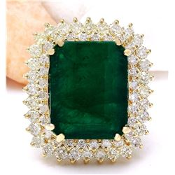 20.77 CTW Natural Emerald 14K Solid Yellow Gold Diamond Ring