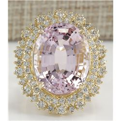 18.07 CTW Natural Kunzite And Diamond Ring 18K Solid Yellow Gold