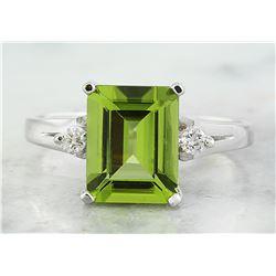 2.26 CTW Peridot 14K White Gold Diamond Ring