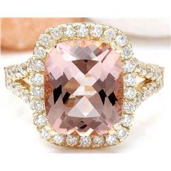 4.63 CTW Natural Morganite 18K Solid Yellow Gold Diamond Ring