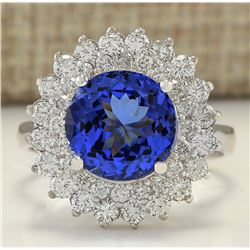 4.88 CTW Natural Tanzanite And Diamond Ring In 18K White Gold