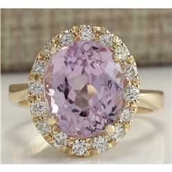 7.06 CTW Natural Kunzite And Diamond Ring 18K Solid Yellow Gold