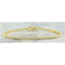 1.40 CTW Diamond 18K Yellow Gold Bracelet