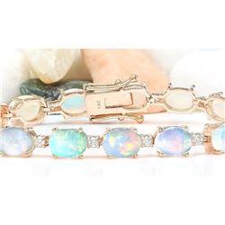 13.58 CTW Natural Opal 14K Solid Rose Gold Diamond Bracelet