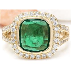 5.28 CTW Natural Emerald 18K Solid Yellow Gold Diamond Ring