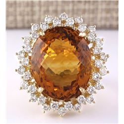 28.47 CTW Natural Madeira Citrine And Diamond Ring 18K Solid Yellow Gold