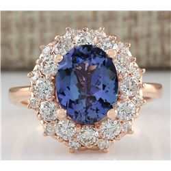 4.16 CTW Natural Blue Tanzanite And Diamond Ring In 14K Solid Rose Gold