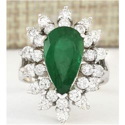 5.20 CTW Natural Emerald And Diamond Ring In 14k White Gold
