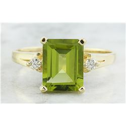 2.26 CTW Peridot 14K Yellow Gold Diamond Ring