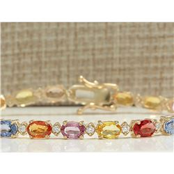 12.74 CTW Natural Sapphire And Diamond Bracelet In 14K Solid Yellow Gold