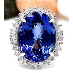 19.64 CTW Natural Tanzanite 14K Solid White Gold Diamond Ring