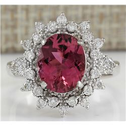 5.43 CTW Natural Pink Tourmaline And Diamond Ring 18K Solid White Gold