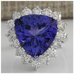 13.87CTW Natural Blue Tanzanite And Diamond Ring 18K Solid White Gold