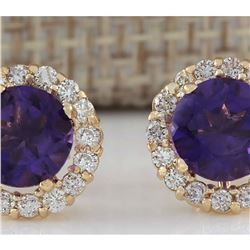 3.65 CTW Natural Amethyst And Diamond Earrings 18K Solid Yellow Gold