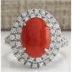 3.15 CTW Natural Red Coral And Diamond Ring In 14K White Gold