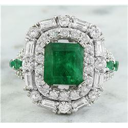 5.75 CTW Emerald 18K White Gold Diamond Ring