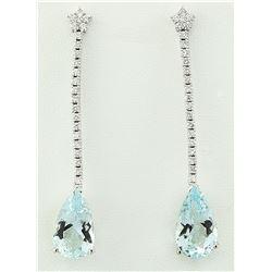 15.95 CTW Aquamarine 14K White Gold Diamond Erarings