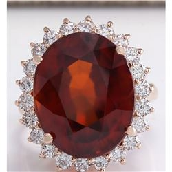 18.07 CTW Natural Hessonite Garnet And Diamond Ring 18K Solid Rose Gold