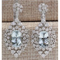 16.73 CTW Natural Aquamarine And Diamond Earrings 18K Solid White Gold