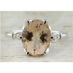 3.41 CTW Morganite 18K White Gold Diamond Ring