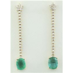 4.75 CTW Emerald 14K Yellow Gold Diamond Eaarings