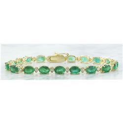 15.29 CTW Emerald 18K Yellow Gold Diamond Bracelet