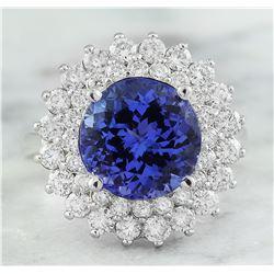 4.88 CTW Tanzanite 18K White Gold Diamond Ring