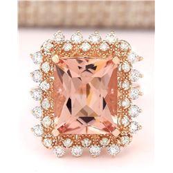 7.92 CTW Natural Morganite And Diamond Ring In 14k Rose Gold