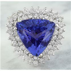 12.72 CTW Tanzanite 18K White Gold Diamond Ring