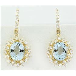 8.07 CTW Aquamarine 14K Yellow Gold Diamond Earrings
