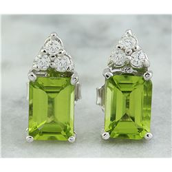 2.65 CTW Peridot 18K White Gold Diamond Earrings