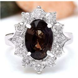 5.12 CTW Natural Ceylon Sapphire 18K Solid White Gold Diamond Ring