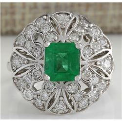 2.45 CTW Natural Emerald Diamond Ring 14K Solid White Gold