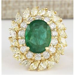 8.57 CTW Natural Emerald And Diamond Ring In 18K Yellow Gold