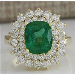 4.39 CTW Natural Emerald And Diamond Ring 18K Solid Yellow Gold