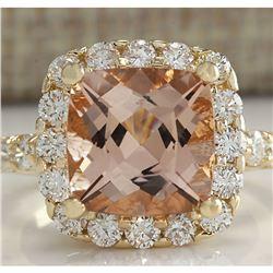 5.29 CTW Natural Morganite And Diamond Ring 18K Solid Yellow Gold