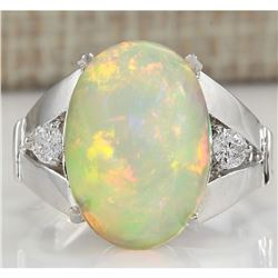 6.12 CTW Natural Opal And Diamond Ring In 18K White Gold