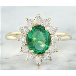 1.76 CTW Emerald 18K Yellow Gold Diamond Ring