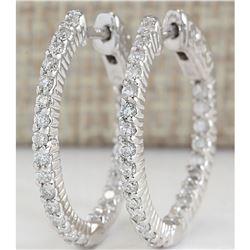 1.26 CTW Natural Diamond Hoop Earrings In 14K White Gold