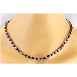 31.25 CTW Natural Sapphire 14K Solid White Gold Diamond Necklace