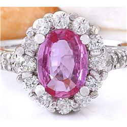 2.06 CTW Natural Sapphire 14K Solid White Gold Diamond Ring